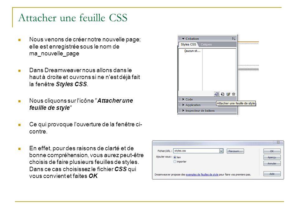 Attacher une feuille CSS Nous venons de créer notre nouvelle page; elle est enregistrée sous le nom de ma_nouvelle_page Dans Dreamweaver nous allons dans le haut à droite et ouvrons si ne n est déjà fait la fenêtre Styles CSS.