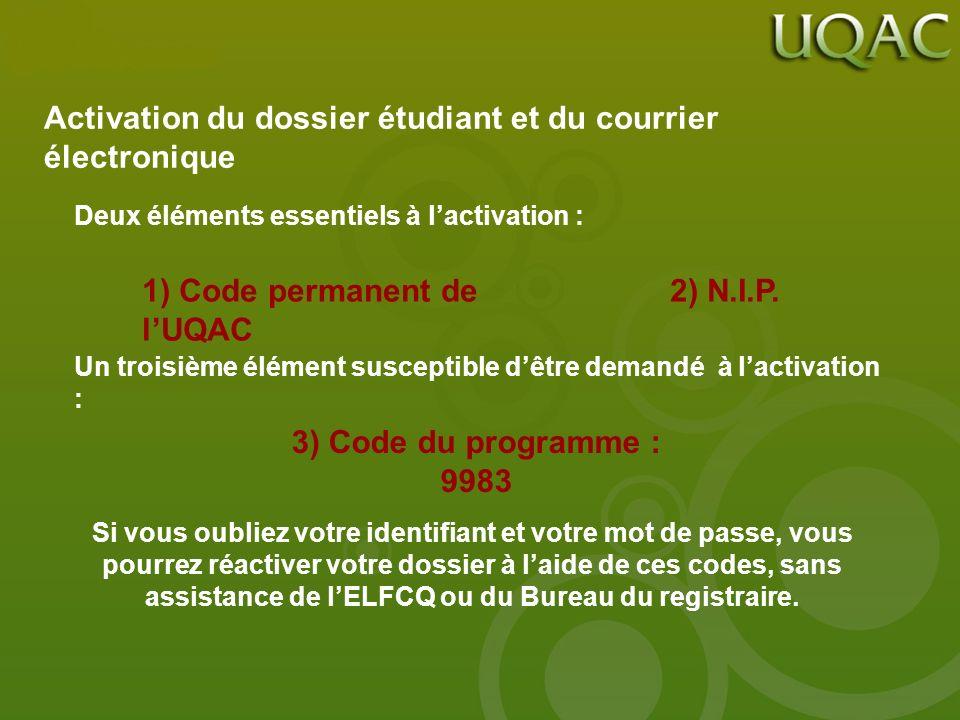 Activation du dossier étudiant et du courrier électronique Deux éléments essentiels à lactivation : 1) Code permanent de lUQAC 2) N.I.P. Un troisième