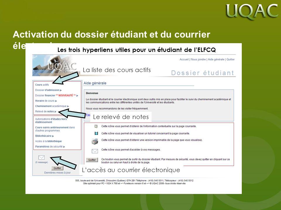 Les trois hyperliens utiles pour un étudiant de lELFCQ La liste des cours actifs Le relevé de notes Laccès au courrier électronique