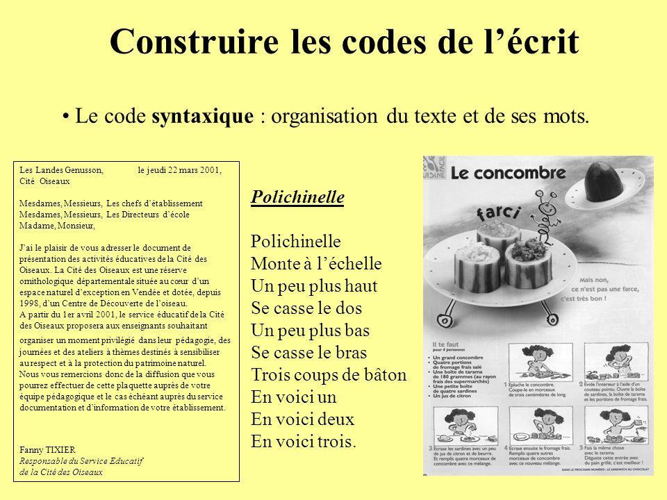 Construire les codes de lécrit Le code syntaxique : organisation du texte et de ses mots. Les Landes Genusson, le jeudi 22 mars 2001, Cité Oiseaux Mes