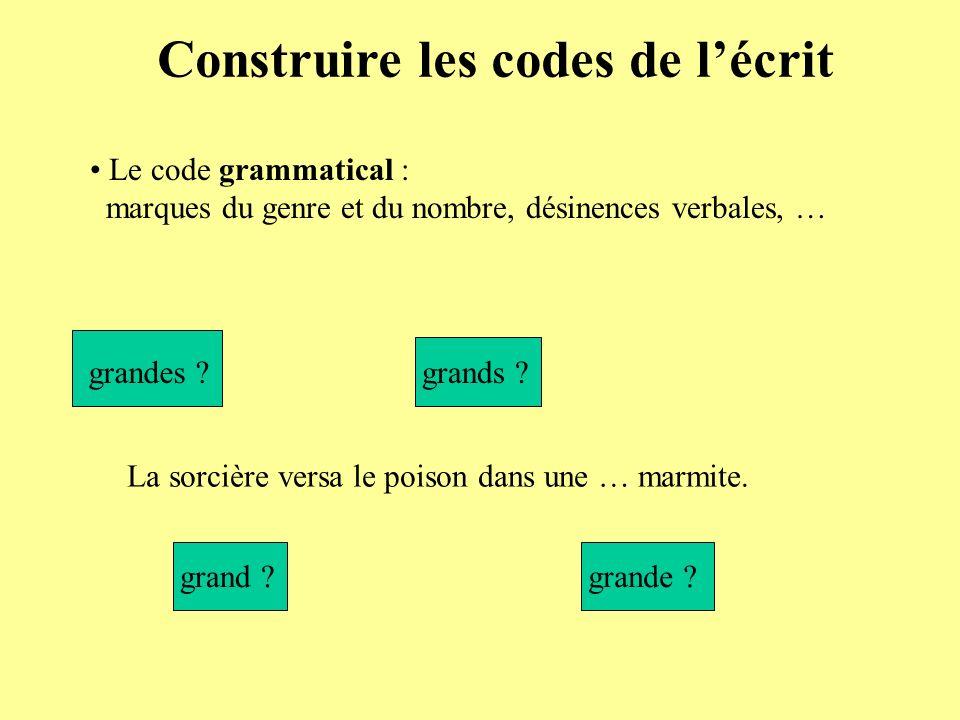 Construire les codes de lécrit Le code grammatical : marques du genre et du nombre, désinences verbales, … La sorcière versa le poison dans une … marmite.