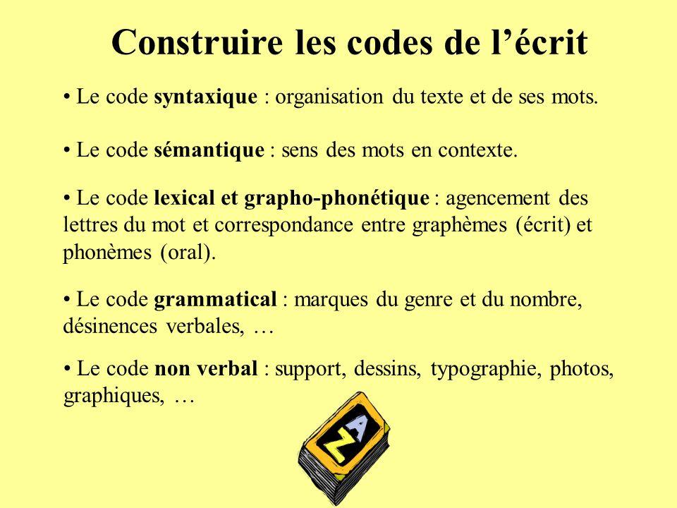Construire les codes de lécrit Le code syntaxique : organisation du texte et de ses mots. Le code sémantique : sens des mots en contexte. Le code lexi