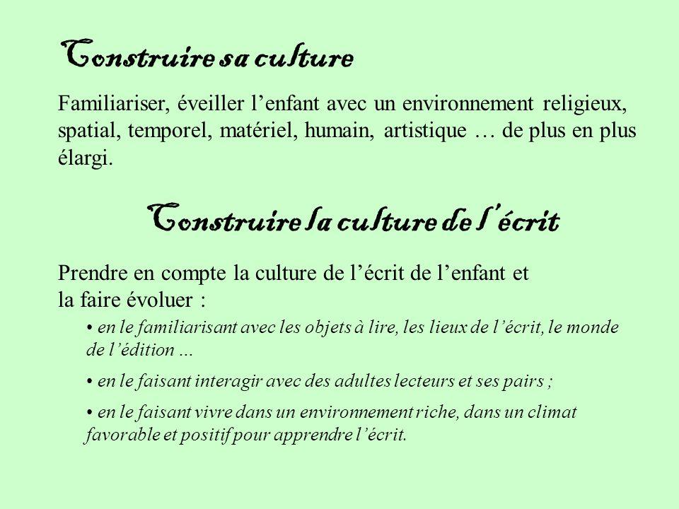 Construire sa culture Construire la culture de lécrit Familiariser, éveiller lenfant avec un environnement religieux, spatial, temporel, matériel, humain, artistique … de plus en plus élargi.