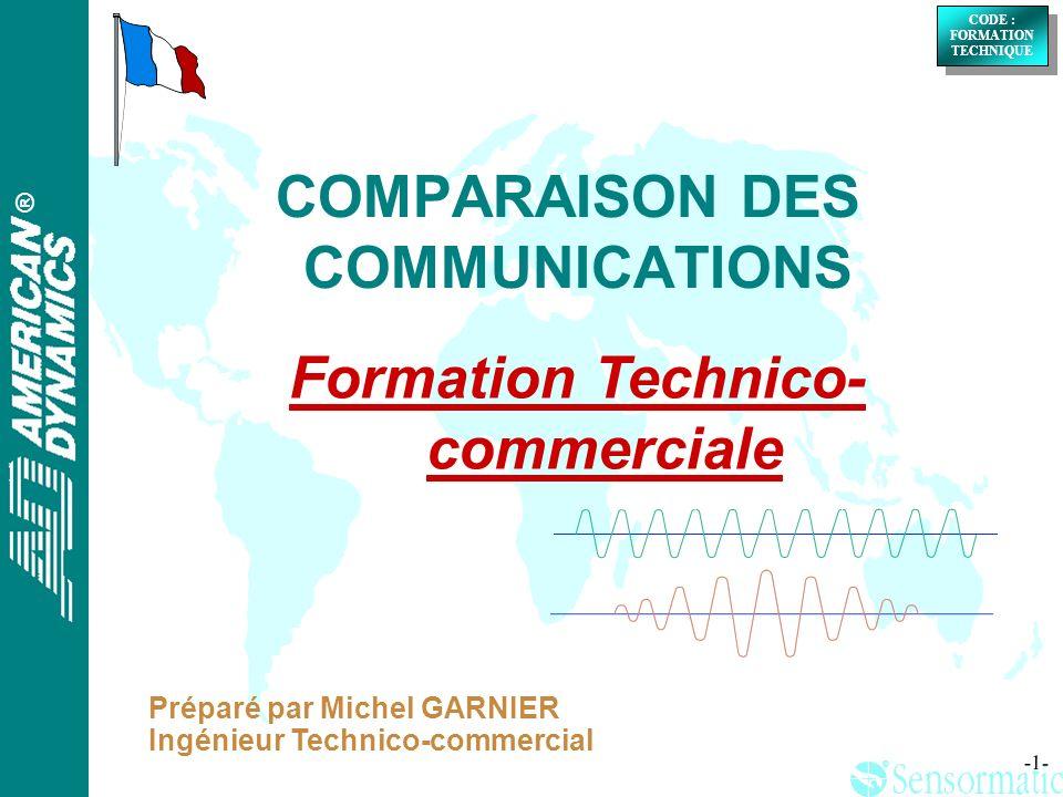 ® ® CODE : FORMATION TECHNIQUE CODE : FORMATION TECHNIQUE -2- Il existe chez Sensormatic 5 sortes de communications: VIDEO RS232 MANCHESTER LAN RS422 SENSORNET Comparaison des communications