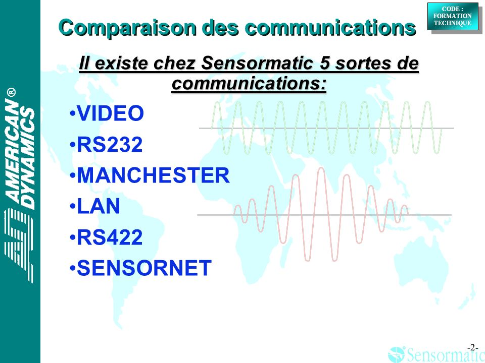 ® ® CODE : FORMATION TECHNIQUE CODE : FORMATION TECHNIQUE -2- Il existe chez Sensormatic 5 sortes de communications: VIDEO RS232 MANCHESTER LAN RS422 SENSORNET Comparaison des communications
