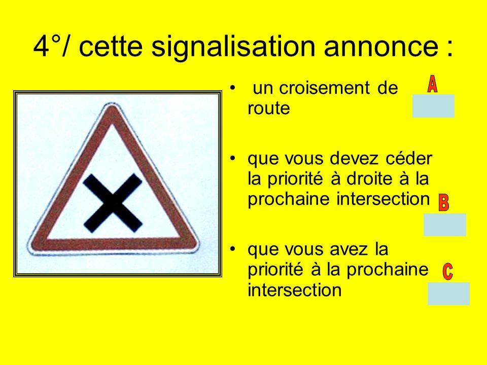 4°/ cette signalisation annonce : un croisement de route que vous devez céder la priorité à droite à la prochaine intersection que vous avez la priori