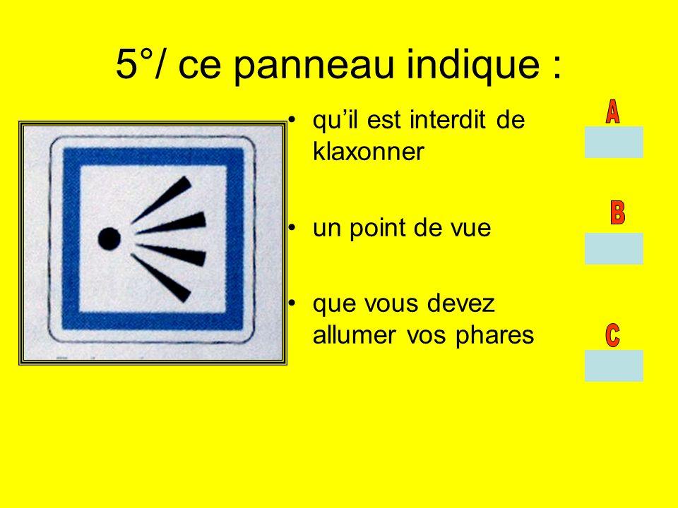 5°/ ce panneau indique : quil est interdit de klaxonner un point de vue que vous devez allumer vos phares