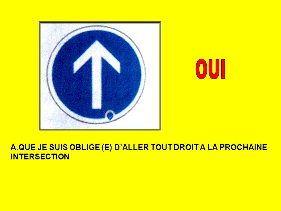 A.QUE JE SUIS OBLIGE (E) DALLER TOUT DROIT A LA PROCHAINE INTERSECTION