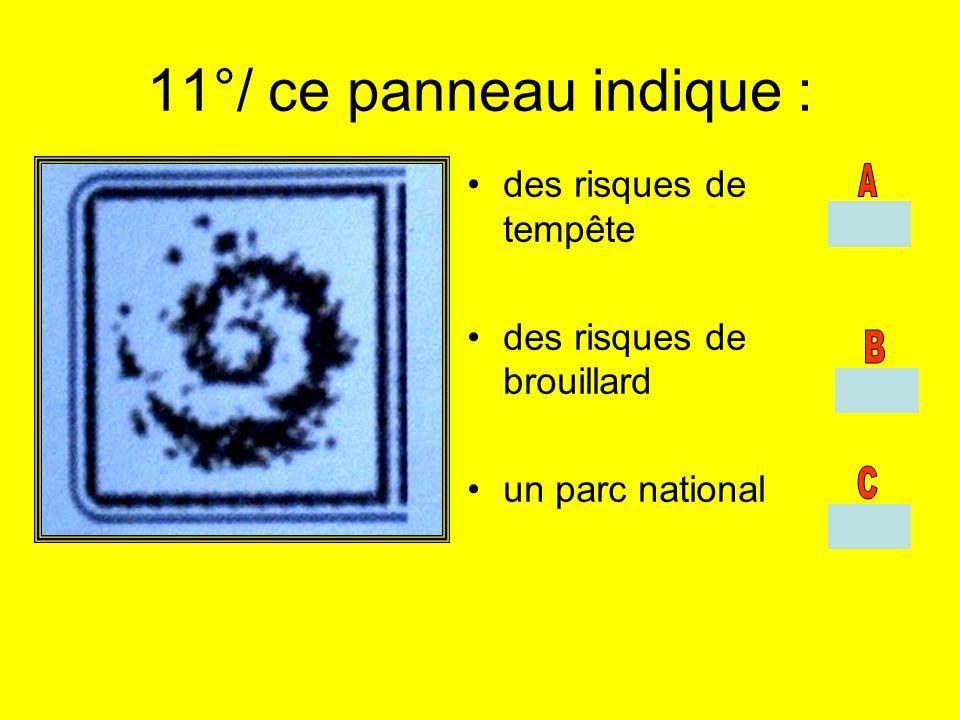11°/ ce panneau indique : des risques de tempête des risques de brouillard un parc national
