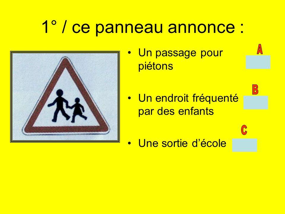 1° / ce panneau annonce : Un passage pour piétons Un endroit fréquenté par des enfants Une sortie décole