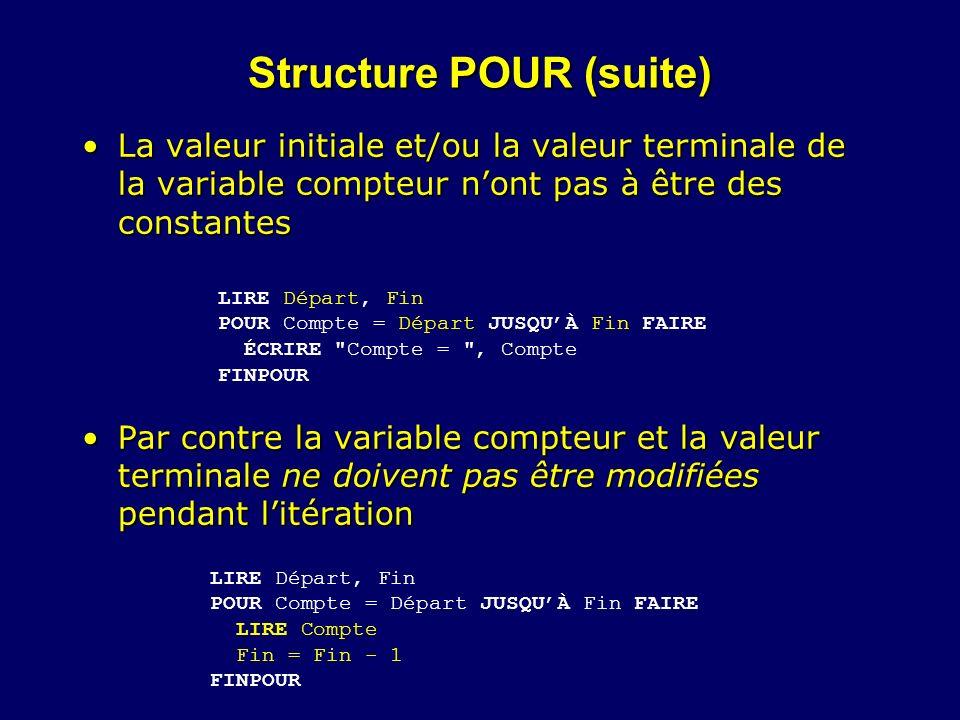 Structure POUR (suite) La valeur initiale et/ou la valeur terminale de la variable compteur nont pas à être des constantesLa valeur initiale et/ou la