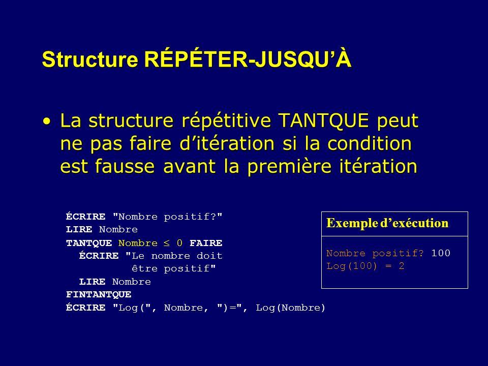 Structure RÉPÉTER-JUSQUÀ La structure répétitive TANTQUE peut ne pas faire ditération si la condition est fausse avant la première itérationLa structu