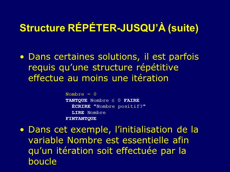 Structure RÉPÉTER-JUSQUÀ (suite) Dans certaines solutions, il est parfois requis quune structure répétitive effectue au moins une itérationDans certai