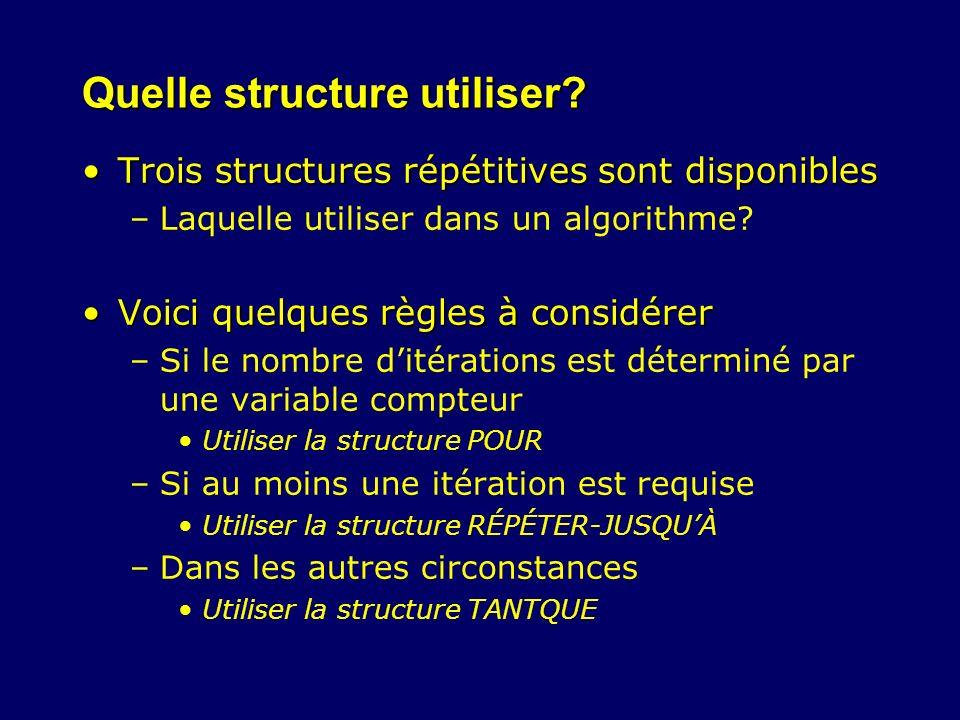 Quelle structure utiliser? Trois structures répétitives sont disponiblesTrois structures répétitives sont disponibles –Laquelle utiliser dans un algor