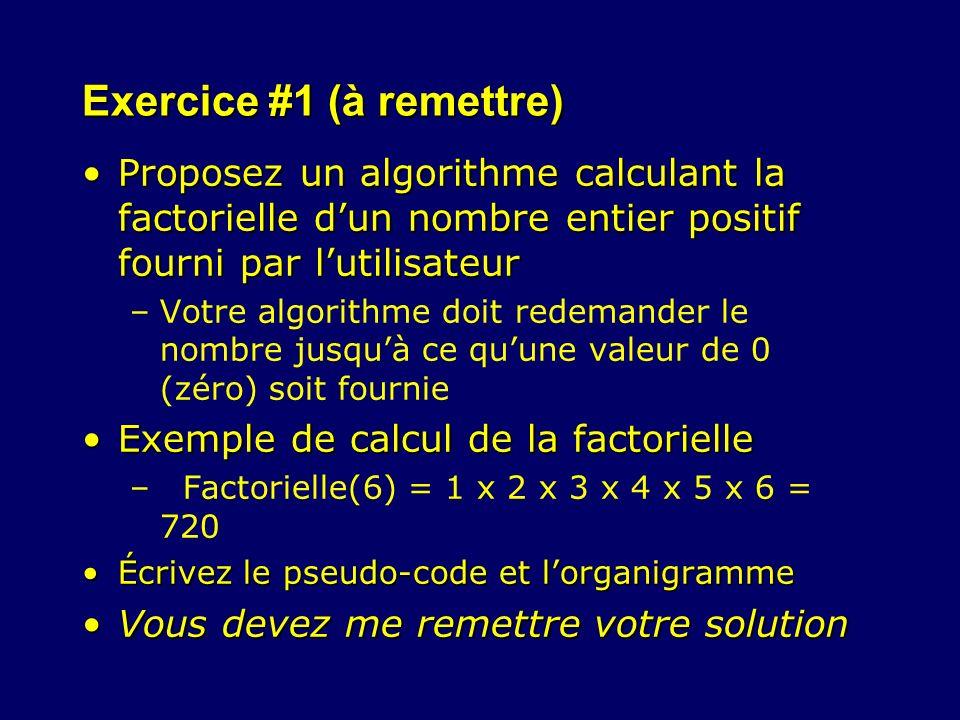 Exercice #1 (à remettre) Proposez un algorithme calculant la factorielle dun nombre entier positif fourni par lutilisateurProposez un algorithme calcu