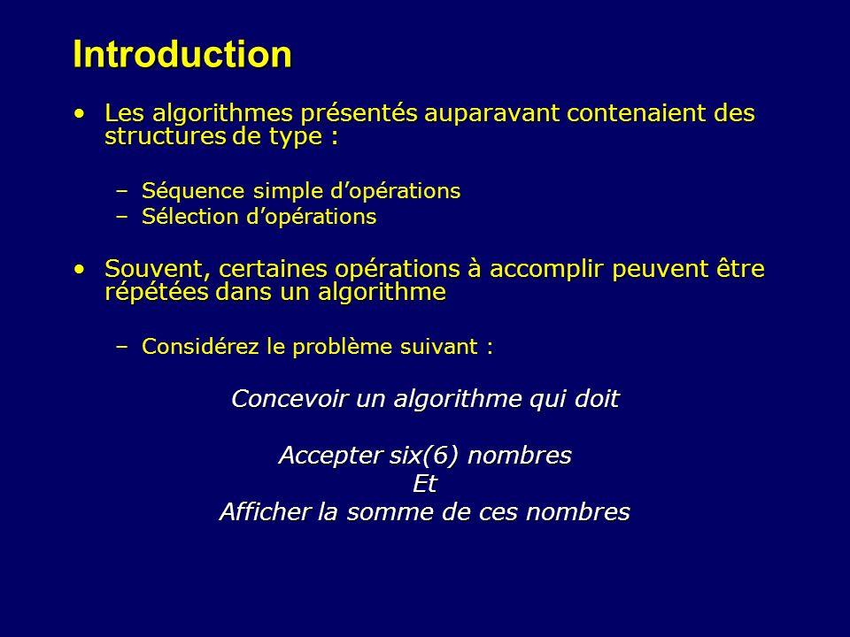 Introduction Les algorithmes présentés auparavant contenaient des structures de type :Les algorithmes présentés auparavant contenaient des structures