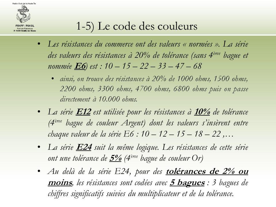 1-5) Le code des couleurs Les résistances du commerce ont des valeurs « normées ». La série des valeurs des résistances à 20% de tolérance (sans 4 ème