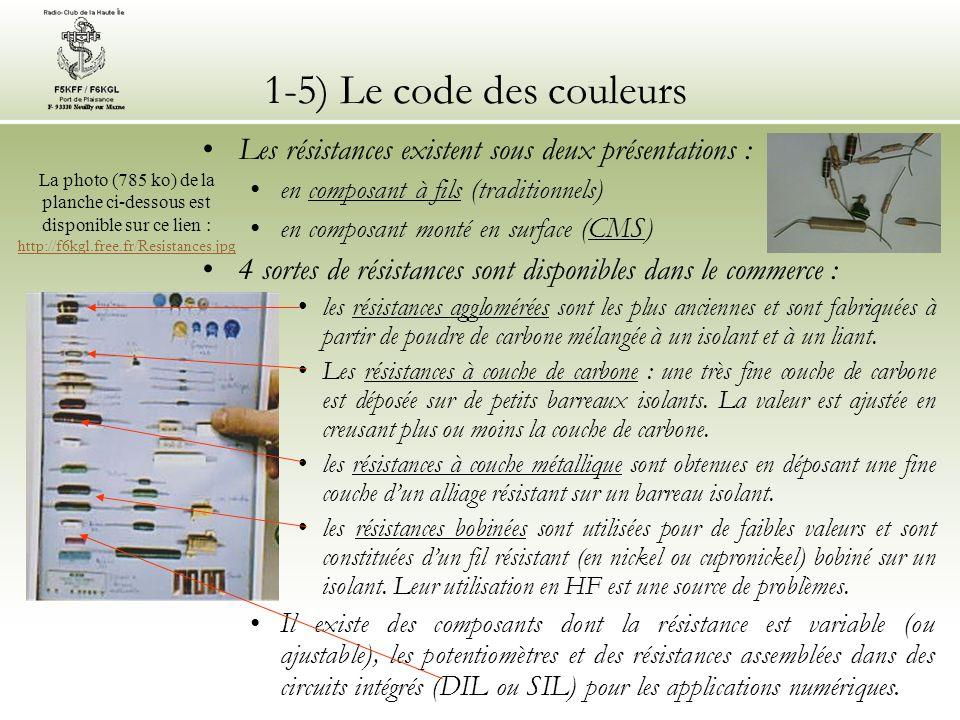 1-5) Le code des couleurs Les résistances existent sous deux présentations : en composant à fils (traditionnels) en composant monté en surface (CMS) 4