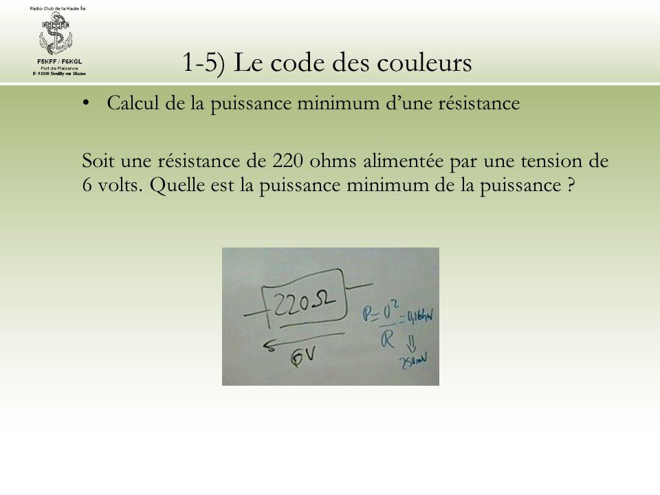 1-5) Le code des couleurs Calcul de la puissance minimum dune résistance Soit une résistance de 220 ohms alimentée par une tension de 6 volts. Quelle