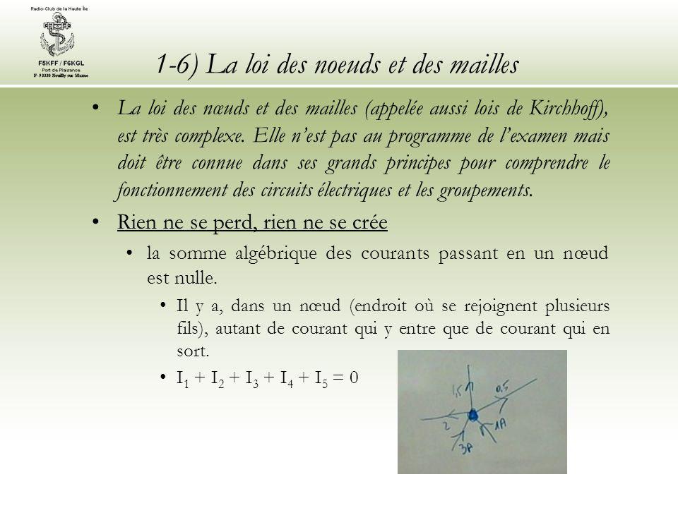 1-6) La loi des noeuds et des mailles La loi des nœuds et des mailles (appelée aussi lois de Kirchhoff), est très complexe. Elle nest pas au programme
