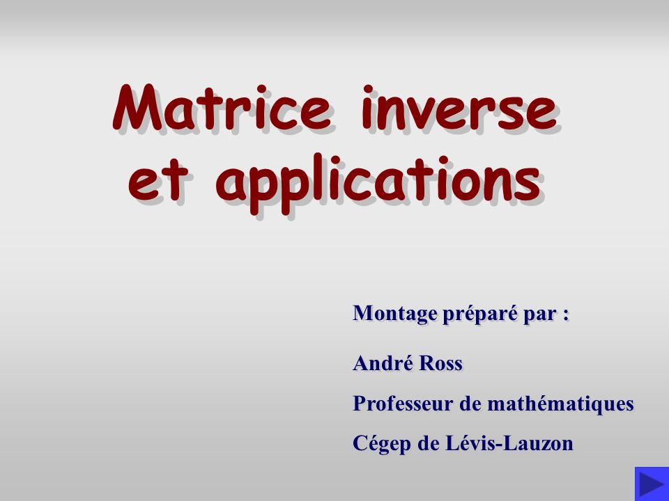 Introduction Nous présentons dans ce diaporama quelques applications de linversion de matrices.