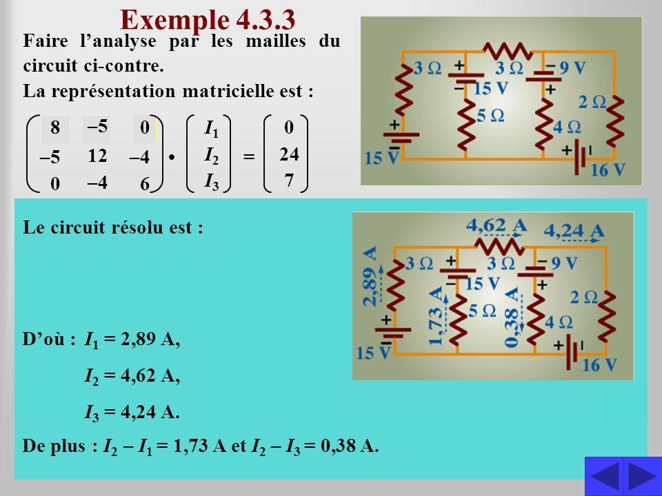 Exemple 4.3.3 S La représentation matricielle est : 8 –5 0 12 –4 0 6 I1I1 I2I2 I3I3 = 0 24 7 Puisque la matrice comporte quelques zéros et quelle est symétrique, il est avantageux dutiliser la méthode de ladjointe.