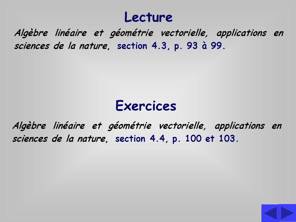 Exercices Algèbre linéaire et géométrie vectorielle, applications en sciences de la nature, section 4.4, p.