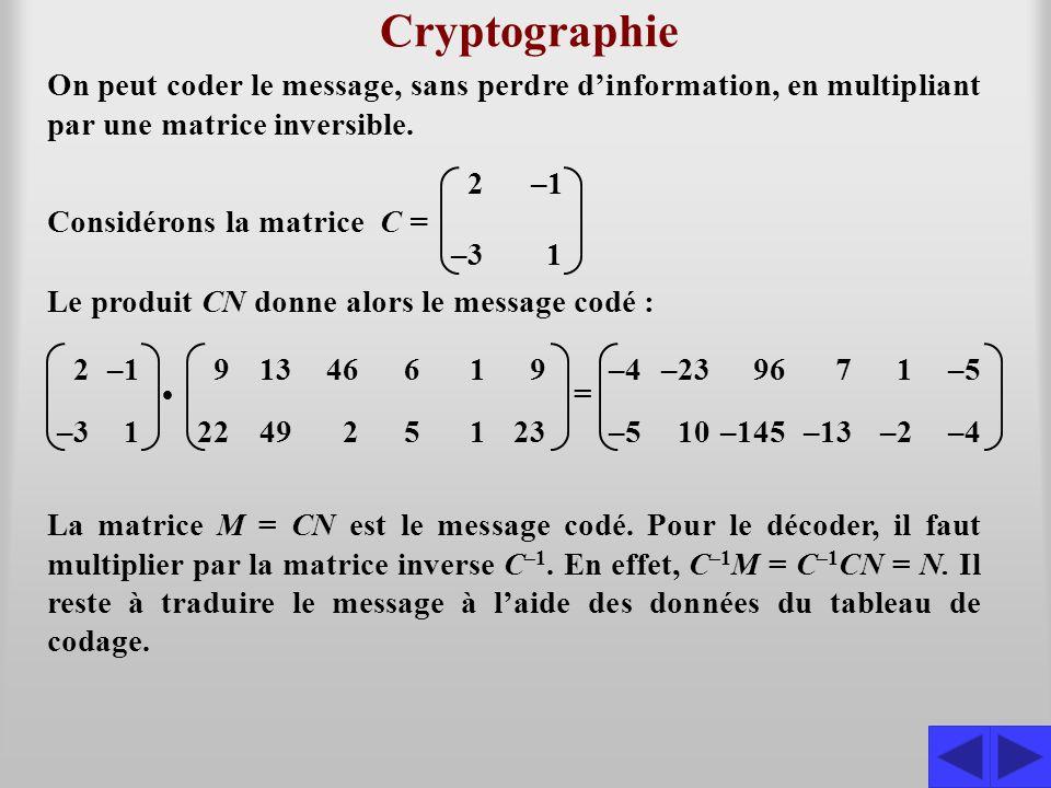 Exemple 4.3.1 Le message consigné dans la matrice M a été codé à laide du tableau de la page 93 et de la matrice C.