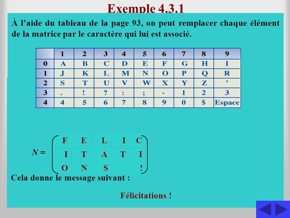Exercice Le message consigné dans la matrice M a été codé à laide du tableau de la page 93 et de la matrice C.