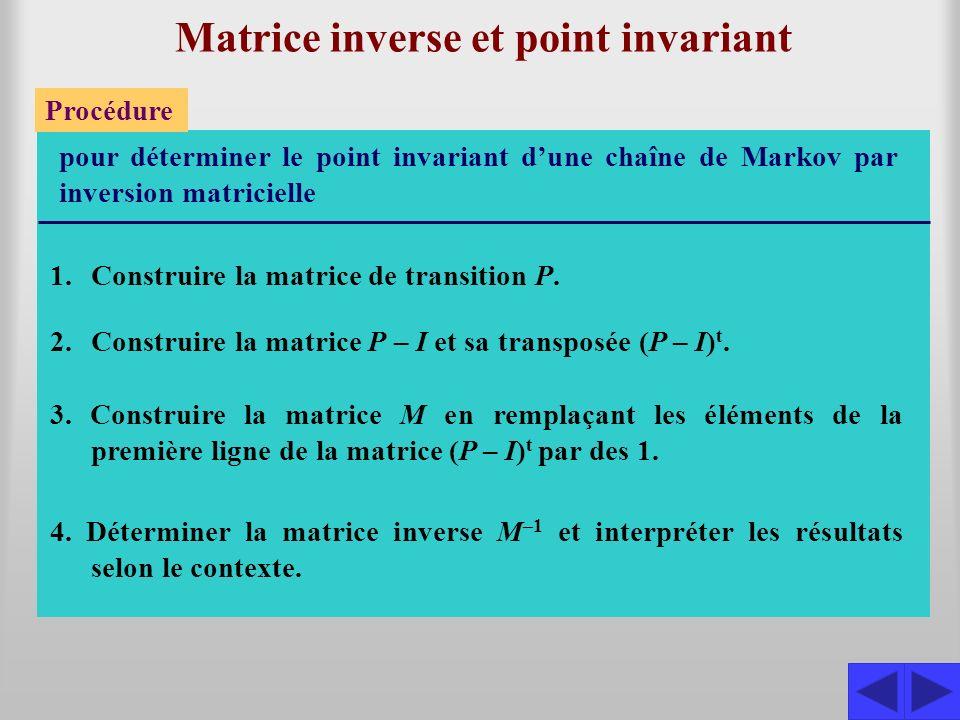 Exemple 4.3.2 Utiliser linversion des matrices pour déter- miner le point invariant de la chaîne de Markov dont la matrice de transition est : S S S Les matrices sont : 0,40,3 0,50,30,2 0,3 0,4 P = P – I = 0,40,3 0,50,30,2 0,3 0,4 –0,60,3 0,5–0,70,2 0,3 –0,6 100 010 001 – = (P – I) t = –0,60,50,3 –0,70,3 0,2–0,6 et 111 0,3–0,70,3 0,2–0,6 M = Inversons la matrice M : L 1 L 2 –3 L 1 L 3 –3 L 1 L1L1 10L 2 10L 3 111100 3–730100 32–60010 111100 0–100–3100 0–1–9–3010 S 10L 1 + L2L2 L2L2 10L 3 – L2L2 100 7 0 0–100–3100 00–90–27–10100 S 111 0,3–0,70,3 0,2–0,6 100 010 001 9L 1 + L3L3 L2L2 L3L3 90003680100 0–100–3100 00–90–27–10100 S L 1 /90 L 2 /(–10) L 3 /(–90) 1004/108/910/9 0103/10–10 0013/101/9–10/9 S M –1 = 4/108/910/9 3/10–10 3/101/9–10/9 S Le point invariant est alors donné par : t1t1 t2t2 t3t3 = 1 0 0 M –1 4/108/910/9 3/10–10 3/101/9–10/9 = 1 0 0 = 4/10 3/10 La première colonne de la matrice inverse donne donc les coordonnées du point invariant et la solution est (0,4 0,3 0,3).