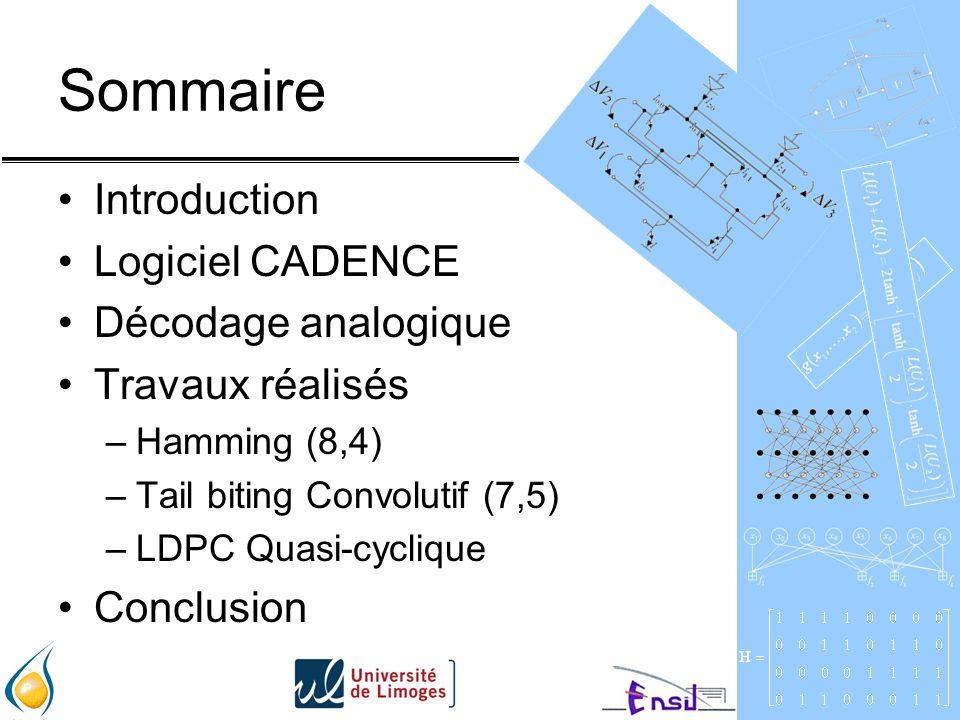 Sommaire Introduction Logiciel CADENCE Décodage analogique Travaux réalisés –Hamming (8,4) –Tail biting Convolutif (7,5) –LDPC Quasi-cyclique Conclusion