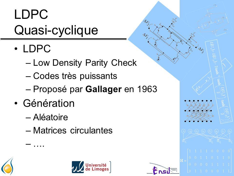 LDPC Quasi-cyclique LDPC –Low Density Parity Check –Codes très puissants –Proposé par Gallager en 1963 Génération –Aléatoire –Matrices circulantes –….