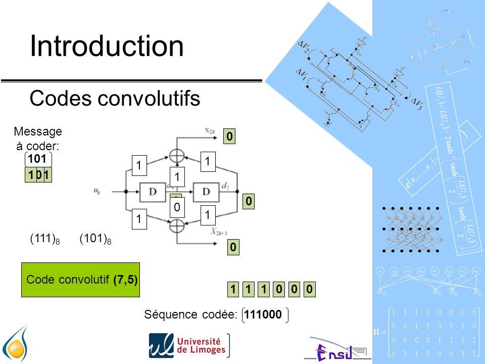 Introduction Codes convolutifs 0 1 0 101 10 1 1 10 0 1 0 11000 111000Séquence codée: 1 1 1 1 1 0 Code convolutifCode convolutif (7,5) (111) 8 (101) 8 Message à coder: