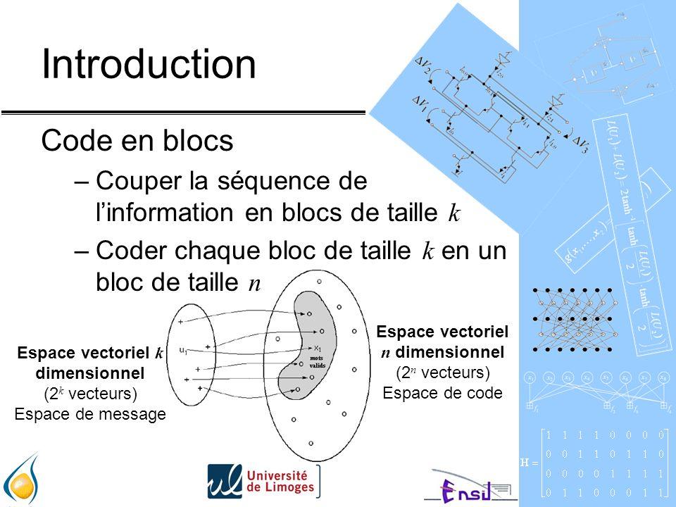 Introduction Code en blocs –Couper la séquence de linformation en blocs de taille k –Coder chaque bloc de taille k en un bloc de taille n Espace vectoriel k dimensionnel (2 k vecteurs) Espace de message Espace vectoriel n dimensionnel (2 n vecteurs) Espace de code