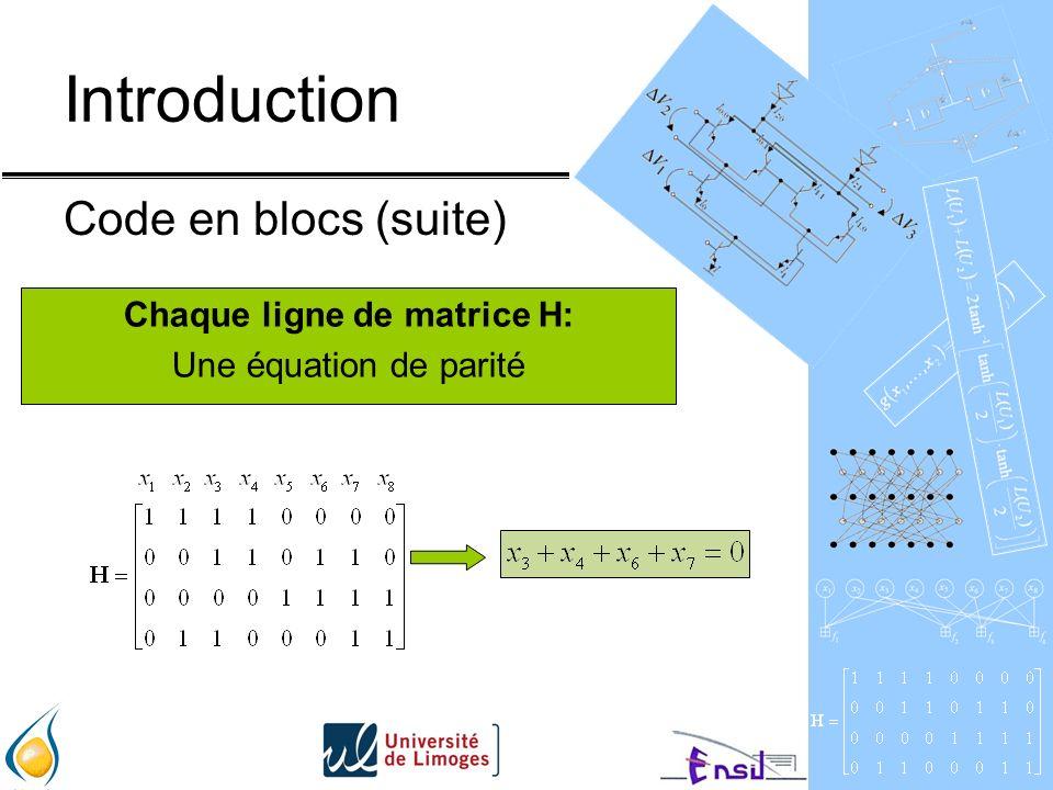 Introduction Code en blocs (suite) Chaque ligne de matrice H: Une équation de parité