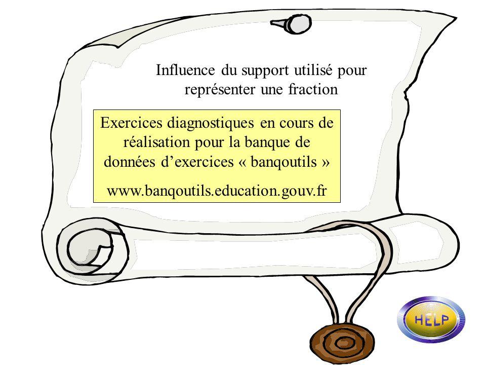 Linfluence du support utilisé Exercice n°11 (page 6) Exercice n°22 (page 13) Code 6 : parts coloriées / parts non coloriées