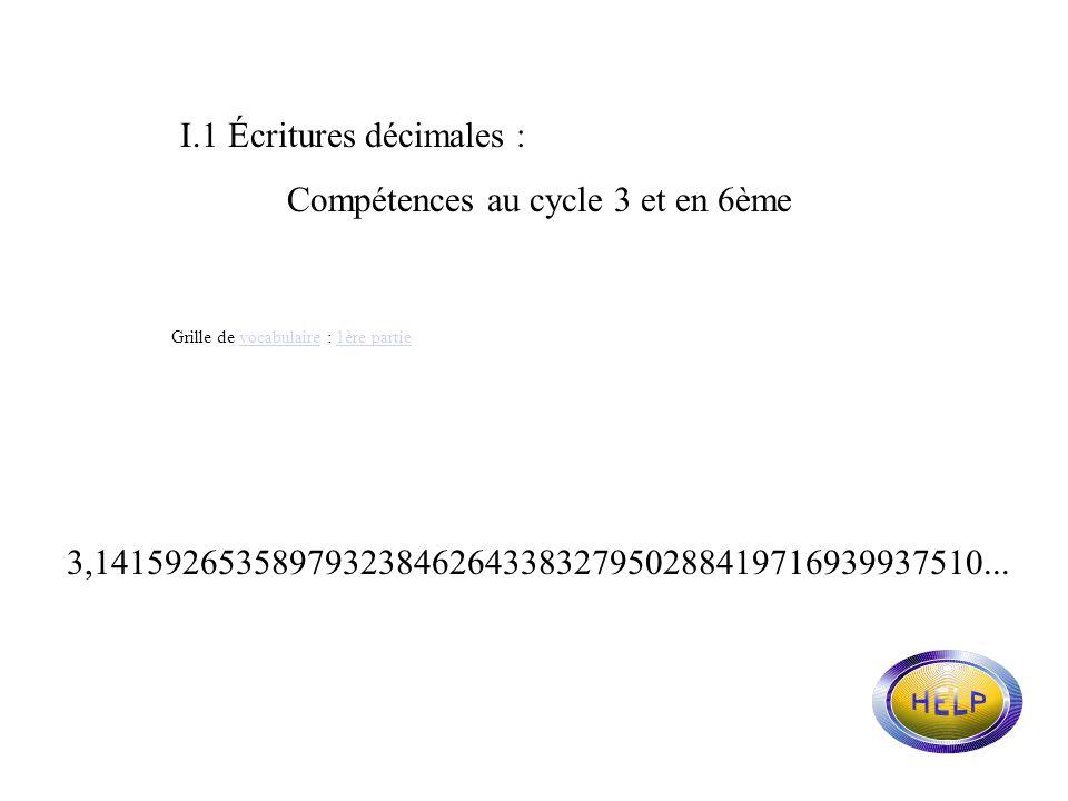 NOMBRES ET FRACTIONS DU CYCLE 3 A LA 6ème. I. Écritures décimales I.1. Compétences au cycle 3 et en 6ème I.2. Analyse dune lecture courante et de ses