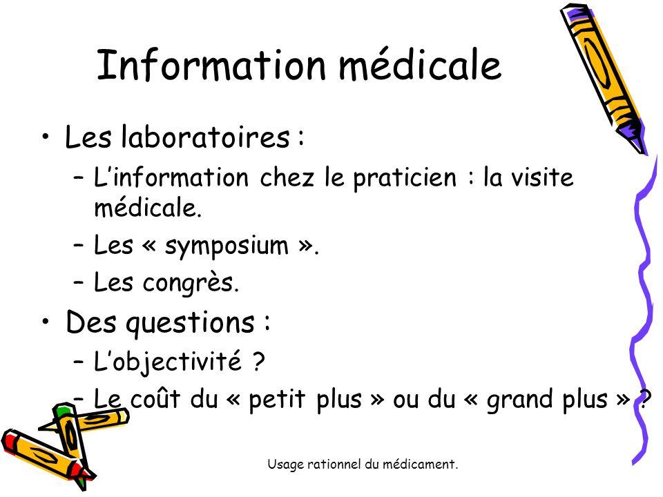 Usage rationnel du médicament. Information médicale Les laboratoires : –Linformation chez le praticien : la visite médicale. –Les « symposium ». –Les