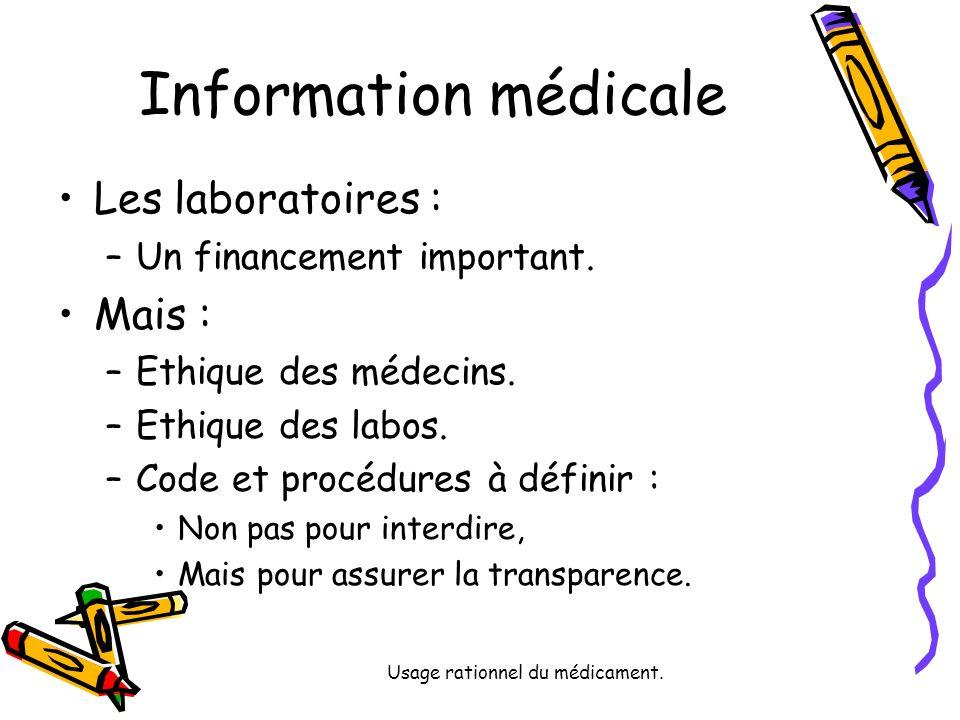 Usage rationnel du médicament. Information médicale Les laboratoires : –Un financement important.