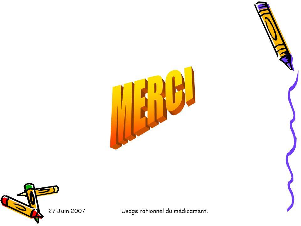 27 Juin 2007Usage rationnel du médicament.