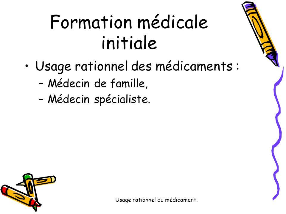Usage rationnel du médicament. Formation médicale initiale Usage rationnel des médicaments : –Médecin de famille, –Médecin spécialiste.