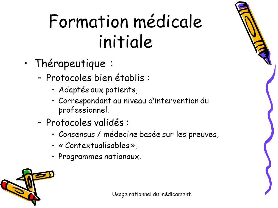 Usage rationnel du médicament. Formation médicale initiale Thérapeutique : –Protocoles bien établis : Adaptés aux patients, Correspondant au niveau di