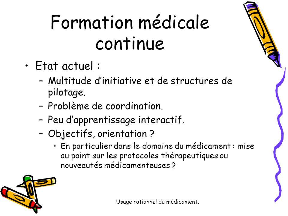 Usage rationnel du médicament. Formation médicale continue Etat actuel : –Multitude dinitiative et de structures de pilotage. –Problème de coordinatio