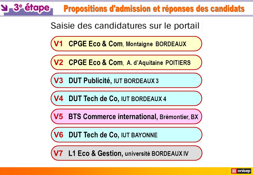 V1 CPGE Eco & Com, Montaigne BORDEAUX V3 DUT Publicité, IUT BORDEAUX 3 V4 DUT Tech de Co, IUT BORDEAUX 4 V6 DUT Tech de Co, IUT BAYONNE V7 L1 Eco & Gestion, université BORDEAUX IV V2 CPGE Eco & Com, A.
