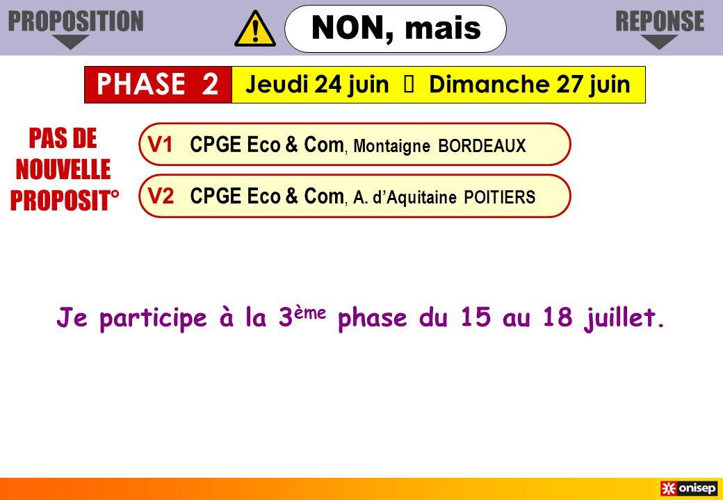 V1 CPGE Eco & Com, Montaigne BORDEAUX V2 CPGE Eco & Com, A. dAquitaine POITIERS PAS DE NOUVELLE PROPOSIT° Je participe à la 3 ème phase du 15 au 18 ju
