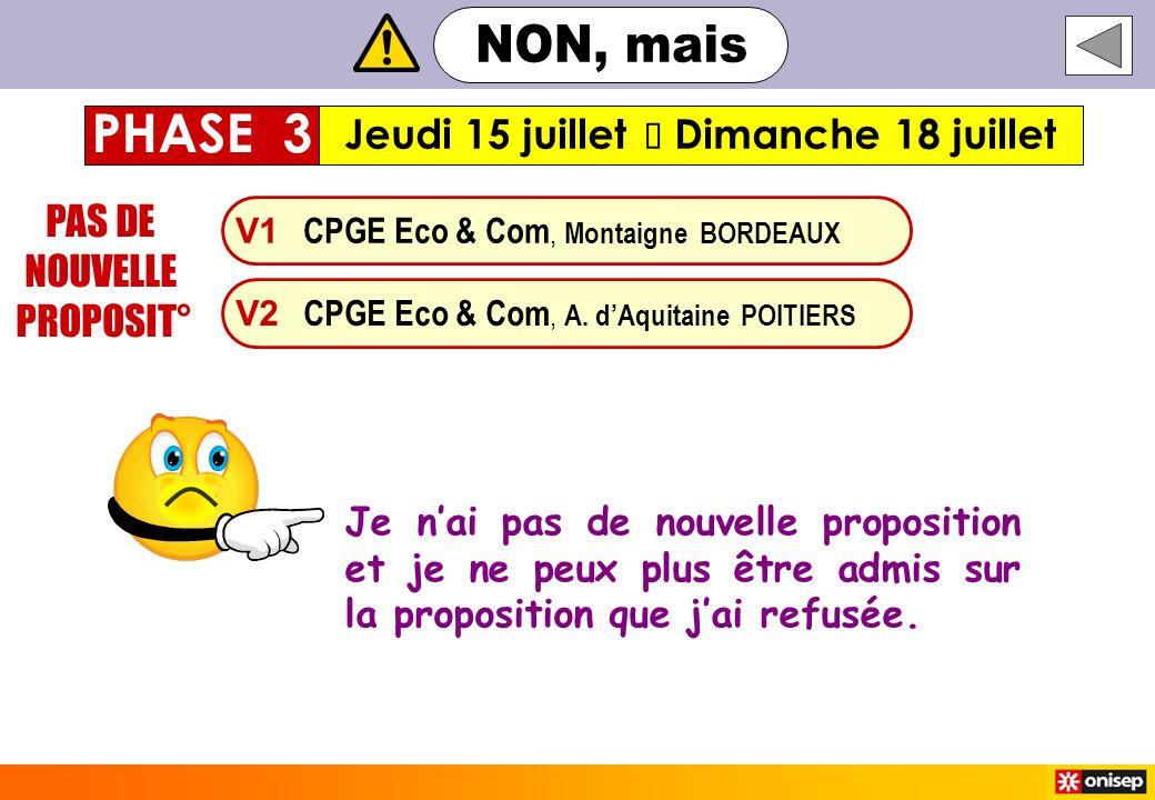 V1 CPGE Eco & Com, Montaigne BORDEAUX V2 CPGE Eco & Com, A. dAquitaine POITIERS PAS DE NOUVELLE PROPOSIT° Jeudi 15 juillet Dimanche 18 juillet PHASE 3
