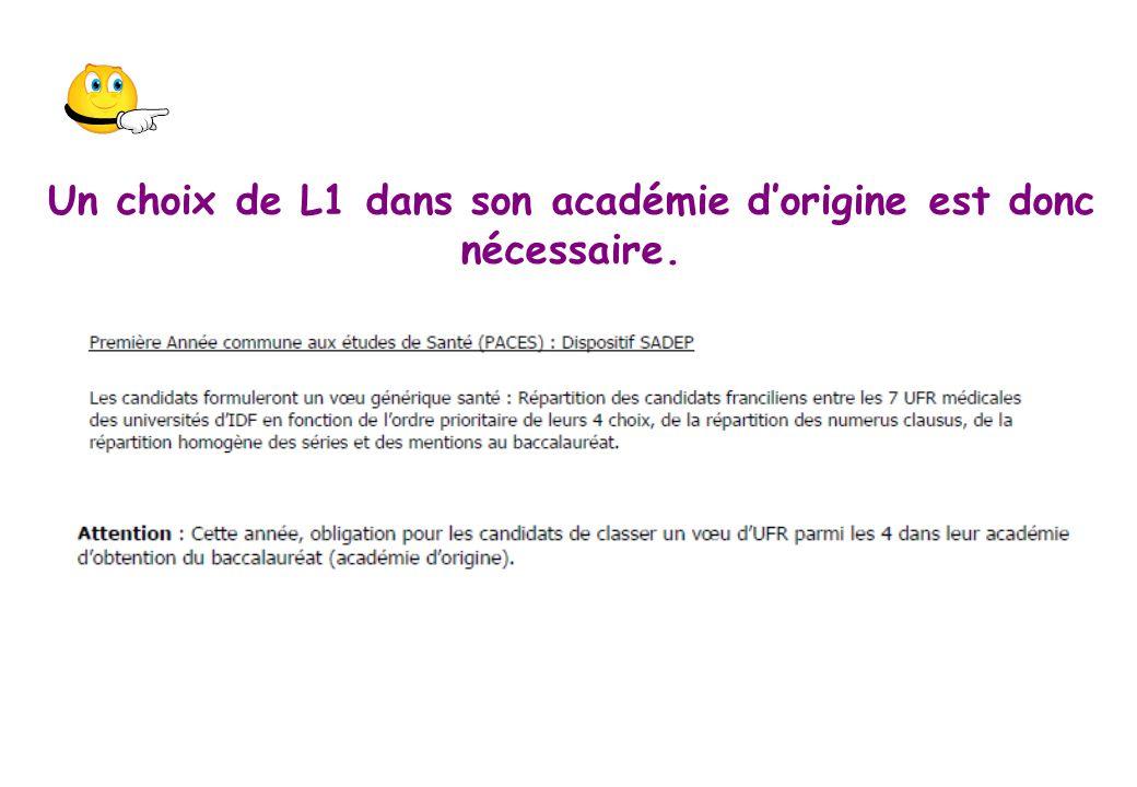 Un choix de L1 dans son académie dorigine est donc nécessaire.