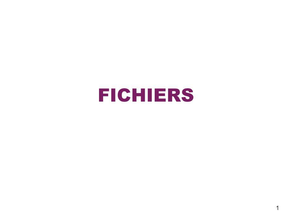 22 Les Fichiers Fonctions générales sur les flots I.Lecture et écriture textuelles Exemple – Faire un programme de: 1) création dun fichier en entrant linformation denregistrements - détails (nom et prix); 2) daffichage le fichier lu par enregistrements.