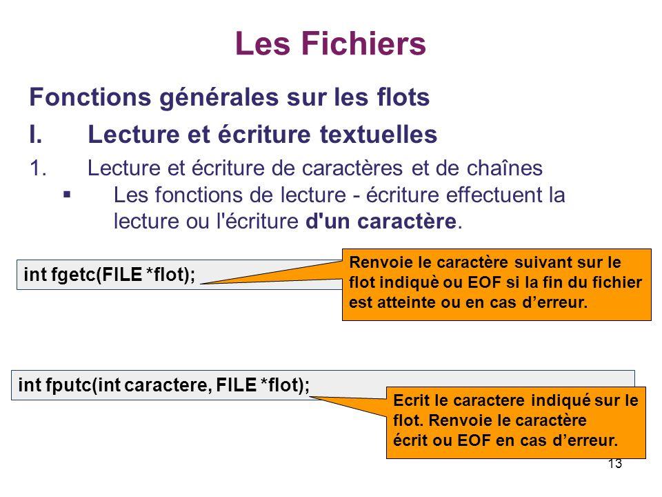 13 Les Fichiers Fonctions générales sur les flots I.Lecture et écriture textuelles 1.Lecture et écriture de caractères et de chaînes Les fonctions de