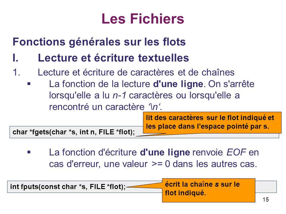 15 Les Fichiers Fonctions générales sur les flots I.Lecture et écriture textuelles 1.Lecture et écriture de caractères et de chaînes La fonction de la